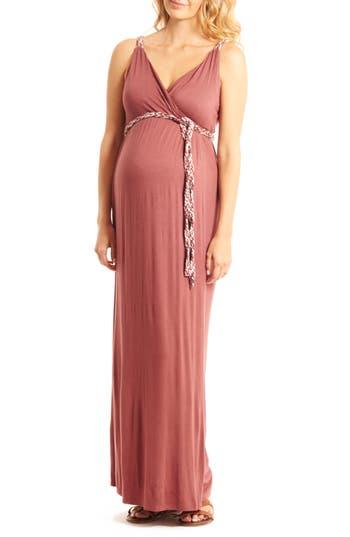 Everly Grey Sofia Maternity/nursing Maxi Dress, Red