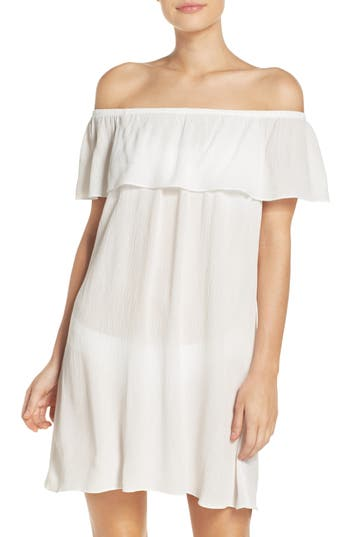 Becca Southern Belle Off The Shoulder Cover-Up Dress, White