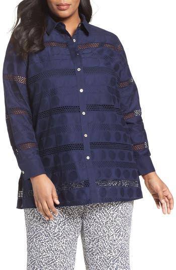 Plus Size Foxcroft Circle Eyelet Tunic Shirt, Blue