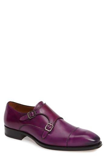 Men's Mezlan Cajal Double Monk Strap Cap Toe Shoe, Size 8.5 M - Purple