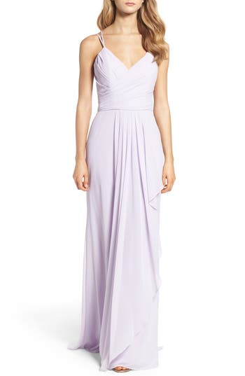 Hayley Paige Occasions Chiffon Gown, Purple