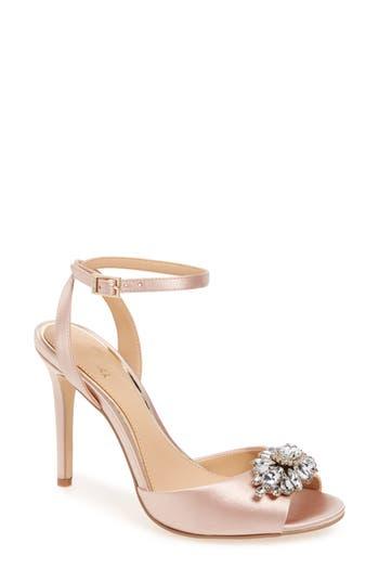 Jewel Badgley Mischka Hayden Embellished Ankle Strap Sandal, Beige