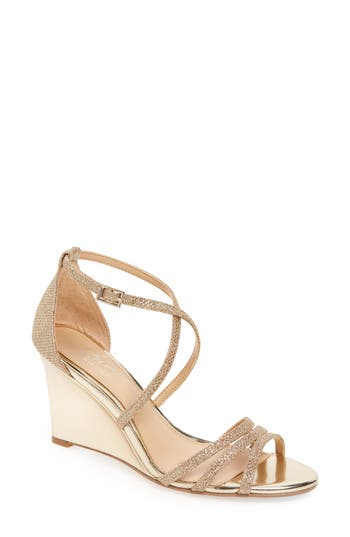 Jewel Badgley Mischka Hunt Glittery Wedge Sandal- Metallic