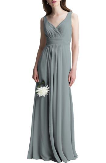 #levkoff V-Neck Chiffon A-Line Gown, Grey