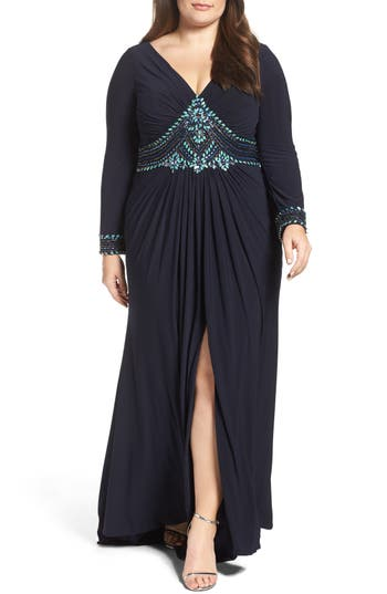 Plus Size MAC Duggal Embellished A-Line Jersey Gown