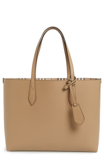 Burberry Medium Lavenby Reversible Calfskin Leather Tote - Beige