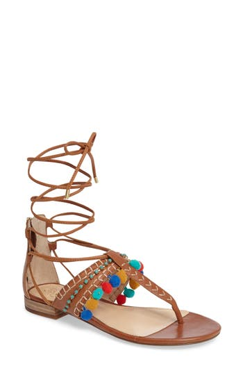 Vince Camuto Balisa Embellished Lace-Up Sandal, Brown