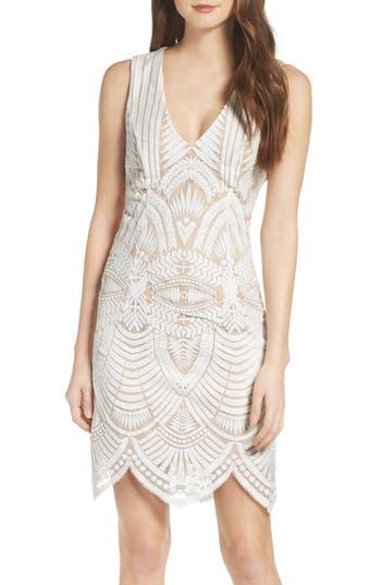 Bardot Embroidered Mesh Dress, Ivory