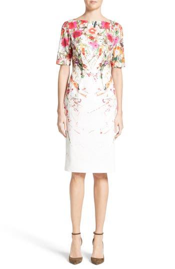 Lela Rose Claire Wild Flower Print Sheath Dress