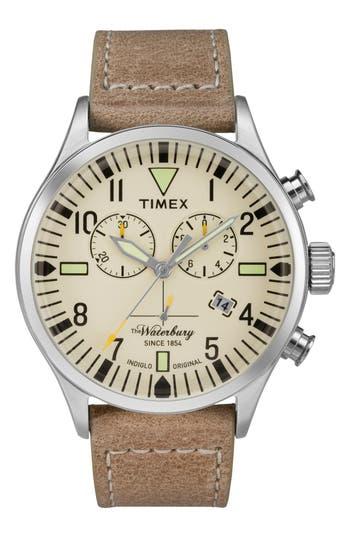 Timex Waterbury Chronograph Leather Strap Watch, 42Mm