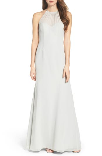 Wtoo Chiffon A-Line Gown, Green