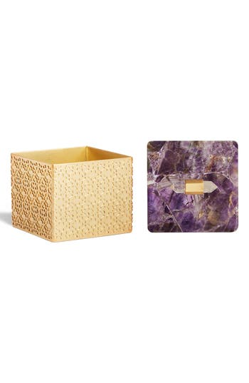 Kendra Scott Square Filigree Stone Box - Purple