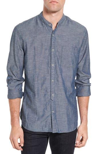 Men's John Varvatos Star Usa Trim Fit Chambray Band Collar Sport Shirt