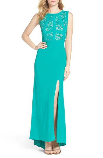Morgan & Co. Lace & Jersey Gown, /12 - Green