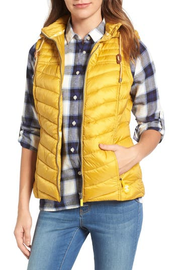 Women's Barbour Lowmoore Quilted Hooded Vest, Size 8 US / 12 UK - Metallic