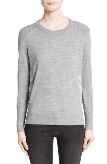 Burberry Meigan Merino Wool Sweater, Grey