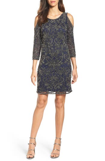Pisarro Nights Embellished Mesh Sheath Dress, Blue