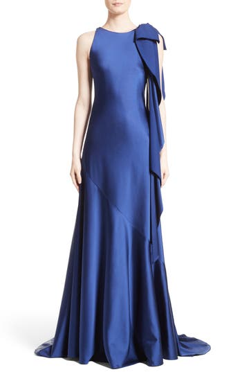 Talbot Runhof Bow Detail Crepe Satin Gown, Blue