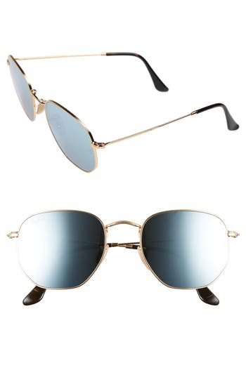 Ray-Ban 5m Hexagonal Flat Lens Sunglasses - Gold/ Grey