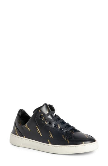 Balenciaga Logo Low Top Sneaker, Black