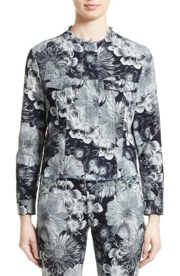 Women's Marques'Almeida Floral Print Classic Fitted Denim Jacket