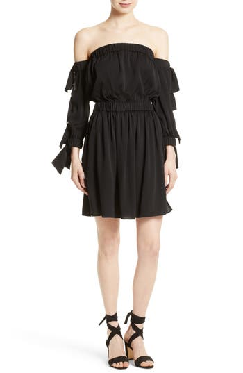 Milly Jillian Stretch Silk Off The Shoulder Dress, Size Petite - Black