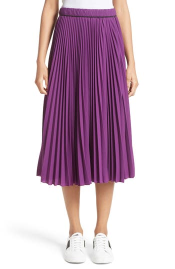 Women's Marc Jacobs Pleated Crepe De Chine Midi Skirt, Size 2 - Purple
