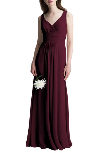 #levkoff V-Neck Chiffon A-Line Gown, Red