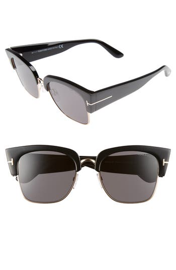 Tom Ford Dakota 55Mm Gradient Square Sunglasses - Shiny Black/ Smoke Mirror