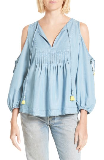 Women's Rebecca Minkoff Cold Shoulder Blouse, Size XX-Small - Blue
