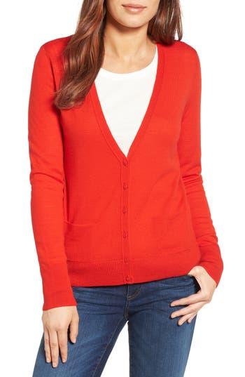 Halogen V-Neck Merino Wool Cardigan, Red