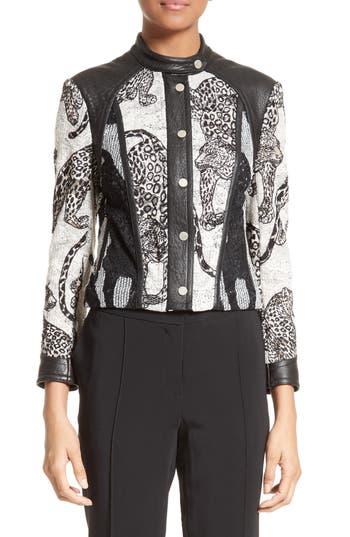 Women's Yigal Azrouel Lace & Leather Moto Jacket, Size 8 - Black