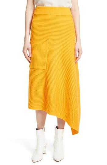 Tibi Asymmetrical Rib Merino Wool Skirt, Orange