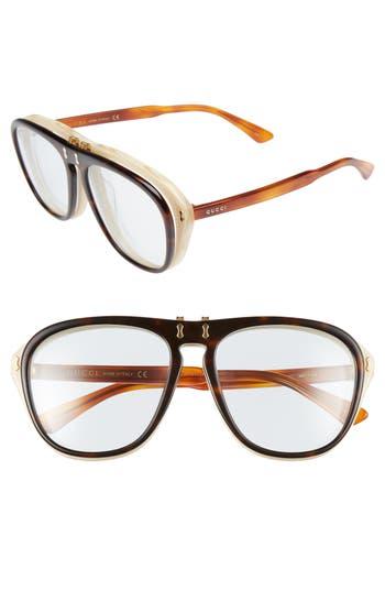 Women's Gucci 56Mm Flip-Up Sunglasses - Havana/ Azure