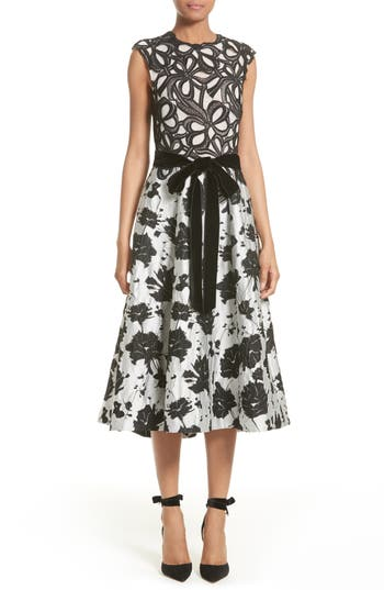 Monique Lhuillier Lace & Jacquard Tea Length Dress