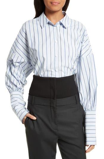 Tibi Garcon Stripe Easy Shirt, Blue