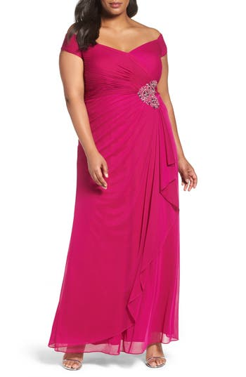 Plus Size Alex Evenings Embellished Off The Shoulder Gown