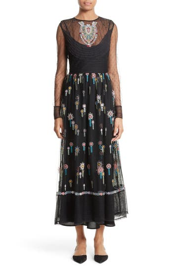 Red Valentino Floral Embroidered Dress, 8 IT - Black