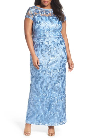 Plus Size Brianna Sequin Embroidered Sheath Gown, Blue