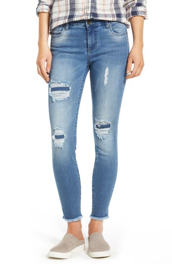 Kut From The Kloth Frayed Hem Repaired Skinny Jeans