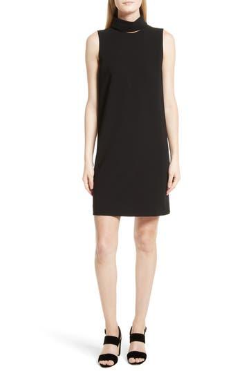 Theory Admiral Crepe Slit Collar Sheath Dress, Black