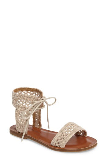 Lucky Brand Ariah Ankle Tie Sandal, Beige