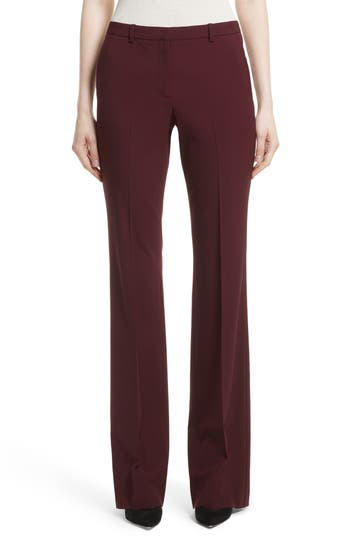 Theory Demitria 2 Flare Leg Stretch Wool Pants, Burgundy