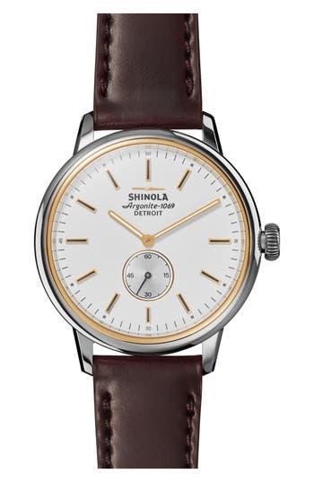 Shinola Bedrock Leather Strap Watch, 42mm