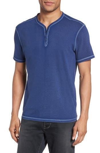 John Varvatos Star Usa Snap Short Sleeve Henley, Blue