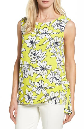 Women's Chaus Print Mixed Media Side Tie Top
