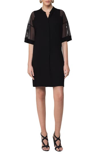 Akris Punto Mesh Sleeve Shift Dress