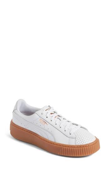 Puma Basket Platform Sneaker, White