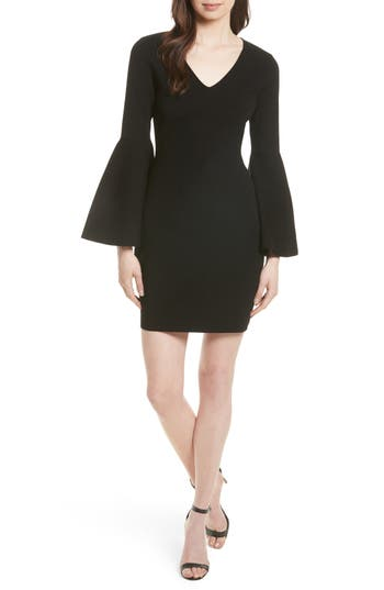 Milly Swing Sleeve Knit Sheath Dress, Size Petite - Black