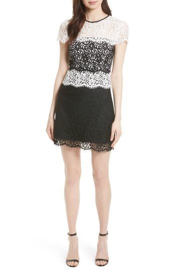 Women's Milly Gabrielle Two Tone Lace Sheath Dress